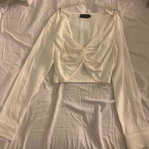 Cream white crop top blouse